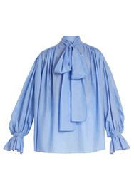 Vika Gazinskaya Tie Neck Cotton Poplin Blouse Blue