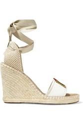 Marc Jacobs Appliqued Leather And Raffia Espadrille Sandals Nude