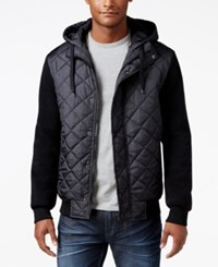 Ring Of Fire Men's Hooded Puffer Coat Charcoal Print