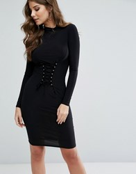 Club L Midi Dress With Corset Lace Up Detail Black