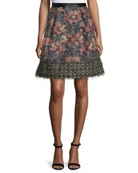 Nicole Miller Floral Print Flare Skirt Burnt Orange