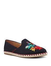 Nine West Unrico Embroidered Canvas Espadrilles Black