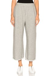 Alexander Wang T By French Terry Cropped Wide Leg Sweatpants In Gray