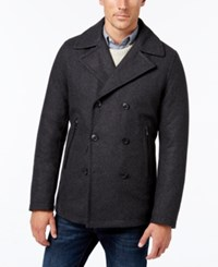 Michael Kors Men's Faux Leather Trim Wool Blend Peacoat Charcoal Heather