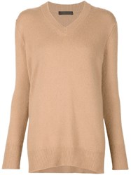 The Row V Neck Oversized Sweater Brown