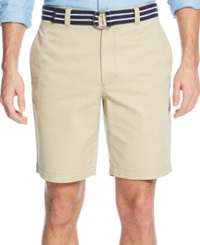 Club Room Belted Flat Front Shorts Creek Bed Khaki