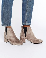 Blink Mid Block Heeled Chelsea Boot Olive Suedette Stone