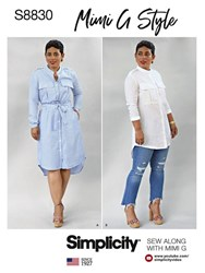 Simplicity 'S Mimi G Style Shirt Dress Paper Pattern 8830