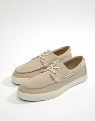 Timberland Newport Boat Shoes In Stone Canvas