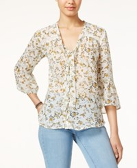 American Rag Printed Tie Front Blouse Only At Macy's Oatmeal Combo