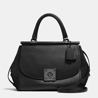 Coach Drifter Carryall In Mixed Leather Matte Black Black