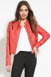 Forever 21 Quilted Faux Leather Jacket Red