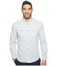 Calvin Klein Jeans Float Pattern Dobby Weave Button Down Dusty Blue Men's Long Sleeve Button Up