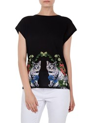 Ted Baker Bleue Florence Woven Front T Shirt Black