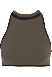 Ward Whillas Wythe Reversible Perforated Halterneck Bikini Top Army Green