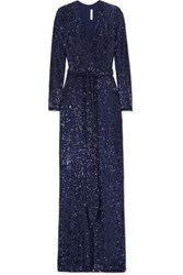 Naeem Khan Belted Sequined Chiffon Gown Navy