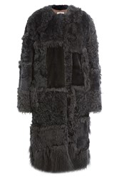 Nina Ricci Shearling Coat With Mink Fur Blue