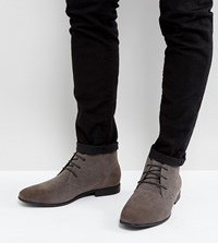 Asos Wide Fit Lace Up Chukka Boots In Grey Faux Suede Grey