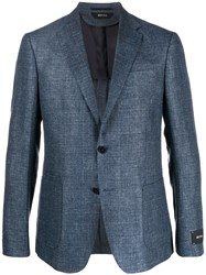 Z Zegna Canvas Textured Single Breasted Suit Jacket 60