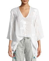 Johnny Was Chancy V Neck Tunic W Floral Embroidery White