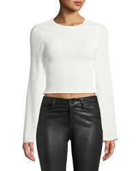 Likely Farren Smocked Long Sleeve Crop Top White