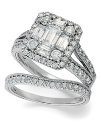 Macy's Emerelle Collection Emerald And Round Cut Diamond Ring Set In 14K White Gold 2 1 4 Ct. T.W.
