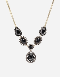 Johnny Loves Rosie Crystal Stone Drop Necklace Black