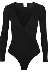 Madeleine Thompson Petra Wrap Effect Wool And Cashmere Blend Bodysuit Black