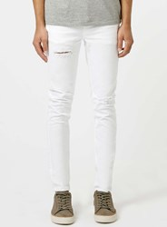 Topman White Ripped Stretch Skinny Jeans