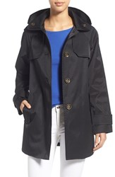 Women's London Fog Hooded Single Breasted A Line Coat Black