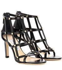Jimmy Choo Tina 85 Metallic Leather Sandals Black