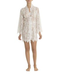 Jonquil Jasmine Floral Lace Short Robe Ivory