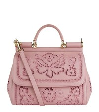 Dolce And Gabbana Medium Sicily Lace Shoulder Bag Female Pink