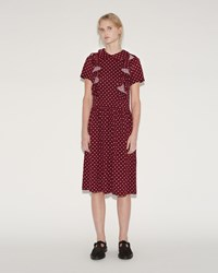 Comme Des Garcons Dot Print Dress Burgundy Off White