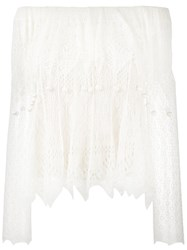 Alexander Mcqueen Off Shoulder Lace Top Women Silk Viscose S Nude Neutrals