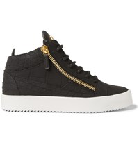 Giuseppe Zanotti Croc Effect Leather High Top Sneakers Black