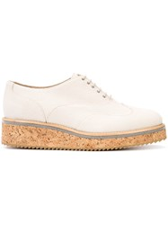 Fabiana Filippi Canvas Lace Up Shoes Women Leather Canvas Rubber 37 Nude Neutrals