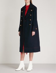 Moandco. Double Breasted Wool Blend Coat Peacoat