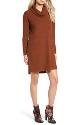 Lush Women's Brushed Cowl Neck Dress Rust