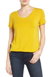 Halogenr Petite Women's Halogen Modal Jersey V Neck Tee Yellow Curry