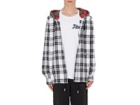 Off White C O Virgil Abloh Checked Cotton Blend Hoodie White