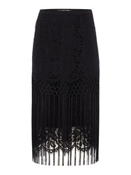 Biba Lace And Fringing Luxe Skirt Black