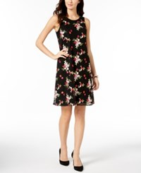 Charter Club Embroidered Mesh Dress Created For Macy's Deep Black