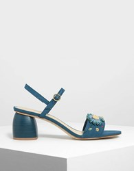 Charles And Keith Open Toe Floral Sandals Green