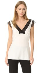 Jenni Kayne Lace V Neck Top White Black