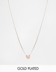 Bill Skinner Gold Plated Knotted Heart Pendant Necklace Rosegold