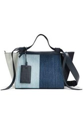 Elena Ghisellini Woman Leather Trimmed Color Block Denim Tote Dark Denim