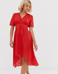 Jdy Button Detail Spotted Midi Tea Dress Red