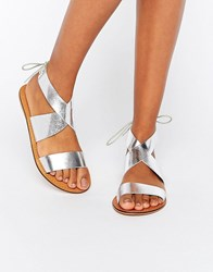 Asos Freckles Leather Lace Up Flat Sandals Silver