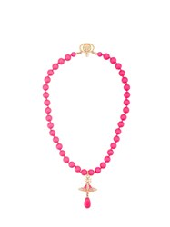 Vivienne Westwood Neon Pearl Choker Necklace Pink